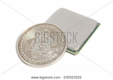 Central Processing Unit Cpu Microchip With Golden Bitcoin Isolated On White