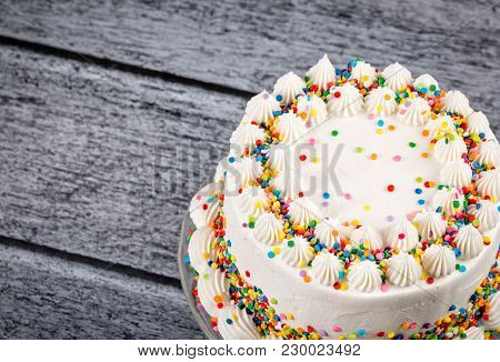 Vanilla Buttercream Birthday Cake With Lots Of Colorful Sprinkles