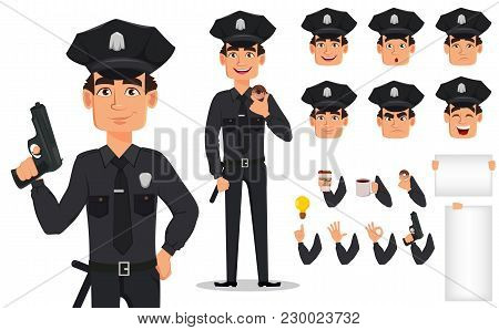 Police Officer, Policeman. Pack Of Body Parts And Emotions. Cartoon Character Cop Creation Set. Vect