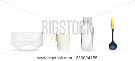 Set Of Realistic 3d Model Of A Deep White Dish, Ladle, Glass Jar, Cup. Vector Illustration. Eps10