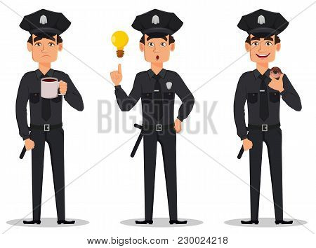 Police Officer, Policeman. Set Of Cartoon Character Cop Tired, With A Good Idea And With Donut. Vect
