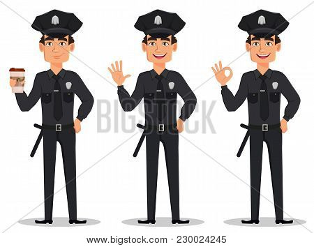Police Officer, Policeman. Set Of Cartoon Character Cop With A Cup Of Coffee, Waving Hand And Showin