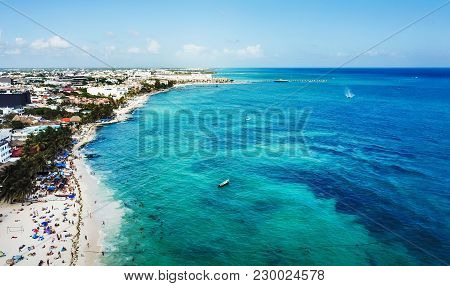 Aerial View Of Famous Playa Del Carmen Public Beach In Quintana Roo, Mexico