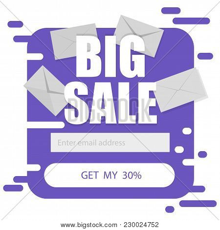 Vector Template For Email Subscribe Form In Purple On A White Background. Big Sale Discounts