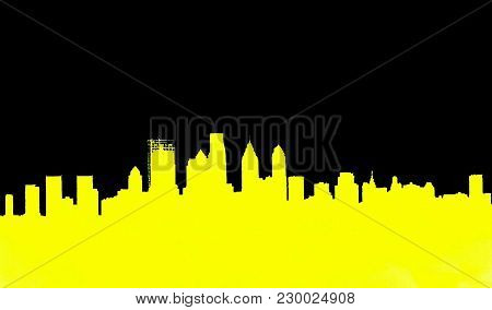 A yellow and black graphic silhouette of downtown  Philadelphia, Pennsylvania.