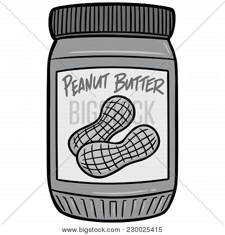 Peanut Butter Illustration - A Vector Cartoon Illustration Of A Jar Of Peanut Butter.