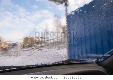 Car Wash. View From Inside. Windshield In Drops View From Inside