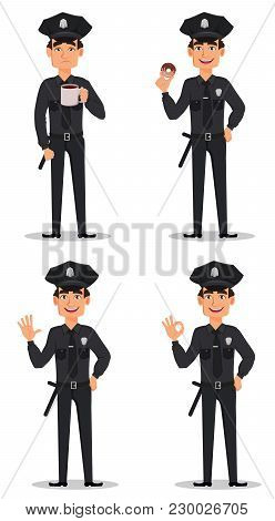 Police Officer, Policeman. Set Of Cartoon Character Cop With Cup Of Hot Drink, With Donut, Waving Ha