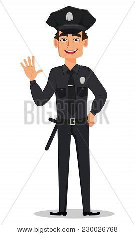 Police Officer, Policeman Waving Hand. Smiling Cartoon Character Cop. Vector Illustration Isolated O