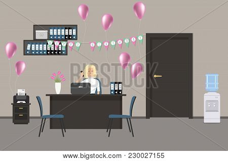 Workplace Of An Office Worker, Decorated For His Birthday. Young Woman Is Sitting At The Desk. There