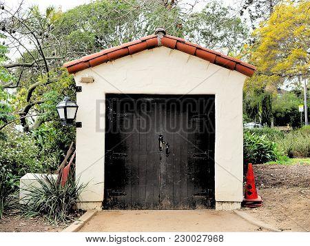 Botanic Garden Storage Shed With Spanish Tile Roof In Santa Barbara, California.