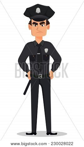 Police Officer, Policeman With Hands On Hips. Angry Cartoon Character Cop. Vector Illustration Isola