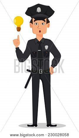 Police Officer, Policeman With A Good Idea. Surprised Cartoon Character Cop. Vector Illustration Iso