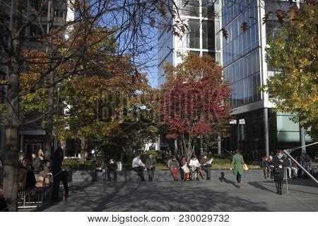 London, Uk - April 22, 2016: City Area Office Buildings Just Off Bishopsgate Near Liverpool Street S