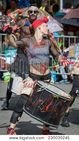 Pointe-a-pitre, Guadeloupe, February 11, 2018: Drummer Girl From The Percussion Group Batala Gwada P