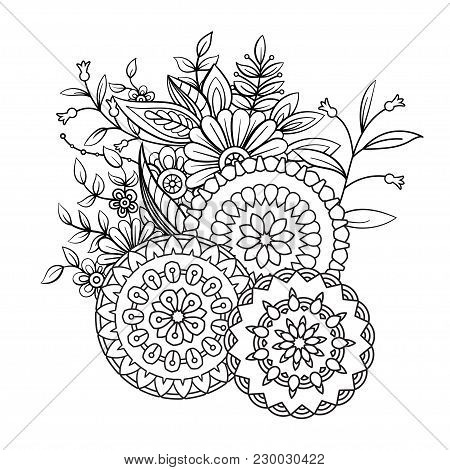 Adult Coloring Book Page With Flowers And Mandalas. Floral Pattern In Black And White. Art Therapy,