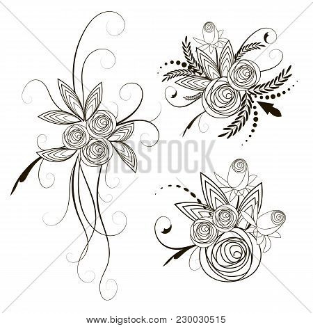 Collection Roses Bouquets. Stylized Roses Flower Outline Hand Drawing. Present Wedding Birthday Lowe