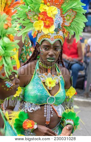 Pointe-a-pitre, Guadeloupe, February 11, 2018: Portrait Of A Beatiful Black Girl In Fancy Dress Part