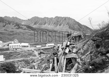 A Pair Of Tracks For Mining Railroad Carts. An Old Mining Town In The Alaskan Mountains Near Hatcher
