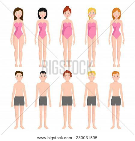 Vector Illustration Of Different Body Shape Types. Characters Standing Beauty Figure Cartoon Model.
