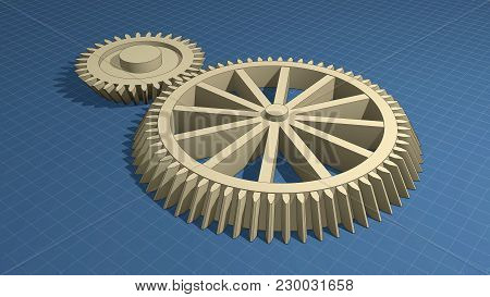 Blueprints And Machine Parts, Gears. 3d Illustration.
