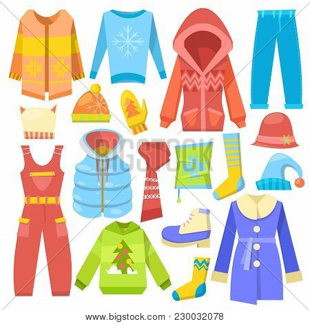 Winter Clothes Vector Warm Clothing Sweater Or Coat With Scarf And Hat In Wintertime Illustration Se