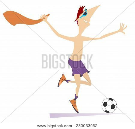 Smiling Young Man Playing Football Isolated Illustration. Cartoon Running Football Player Is Taking