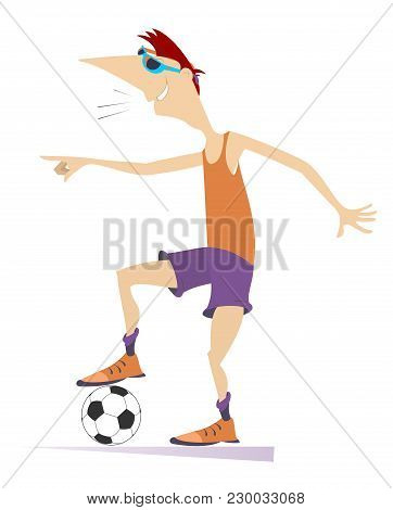 Smiling Young Man Playing Football Isolated Illustration. Cartoon Football Player Laughs And Points