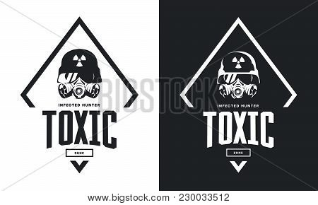 Rider In Helmet And Gas Mask Black And White Isolated Vector Logo.premium Quality Toxic Chemical Zon