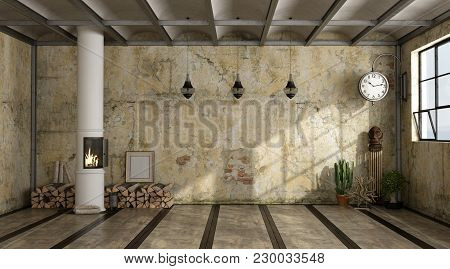 Grunge Interior With Old Wall And Stove - 3d Rendering