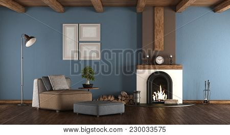 Blue And Brown Living Room With Fireplace And Armchairs - 3d Rendering