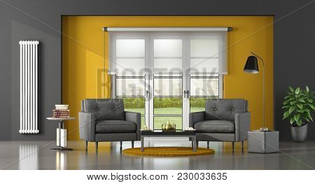 Gray And Yellow Living Room With Two Armchair - 3d Rendering