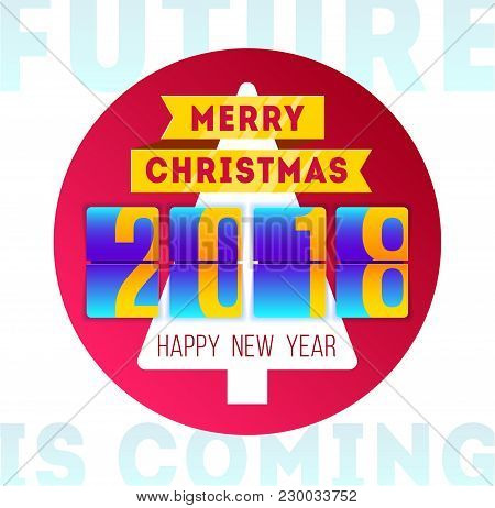 Happy Merry Christmas 2018. Concept With Mechanical Flip Clock Design. Year Of The Yellow Dog. Banne