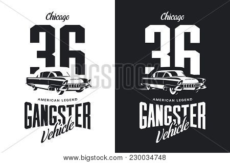 Vintage Gangster Vehicle Black And White Isolated Vector Logo.premium Quality Classic Car Logotype T