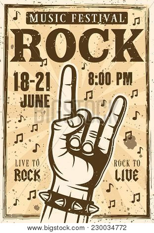 Rock Festival Poster Or Banner With Horns Hand Gesture Vector Illustration In Vintage Style. Layered