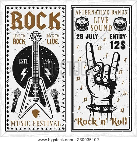 Rock Music Festival Two Vertical Banners Or Invitation Flyers Vector Templates With Guitar And Horns