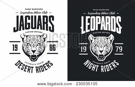 Vintage Furious Leopard Custom Motors Club T-shirt Black And White Isolated Vector Logo.premium Qual