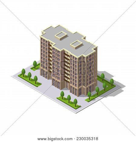 Vector Isometric 3d Illustration Of Multi-storey Building, Tower With Parking Place, Trees. Residenc