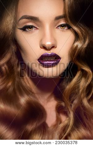 Closeup Portrait Of Beautiful Girl With Perfect Curly Hairstyle And Make Up With Magenta Gloss Lips
