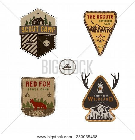 Travel Badge, Outdoor Activity Logo Collection. Scout Camp Emblem Set. Vintage Hand Drawn Travel Bad