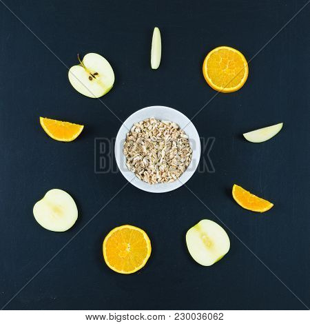 Good Morning With Healthy Breakfast With Composition Flat Lay Of Sliced Apple And Orange, Oats And W
