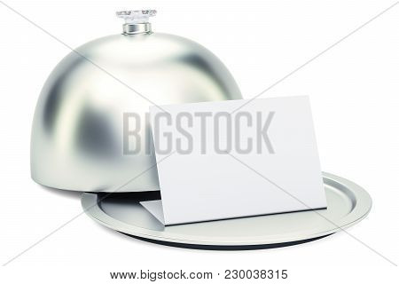 Restaurant Cloche With Blank Card, 3d Rendering Isolated On White Background