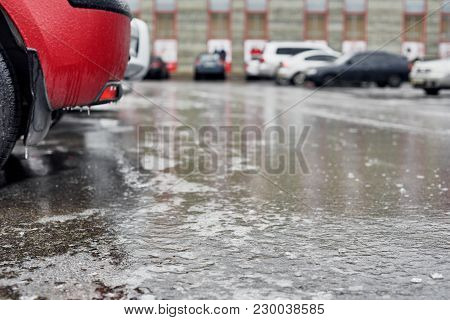 Closeup Photo Of Frozen Icy Car On Parking Lot