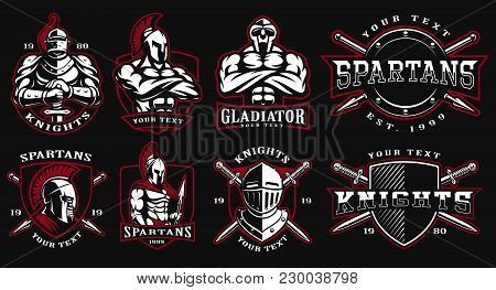 Set Of Logos, Badges With Ancient Warriors. Vector Illustration With Knight, Spartan And Gladiator.