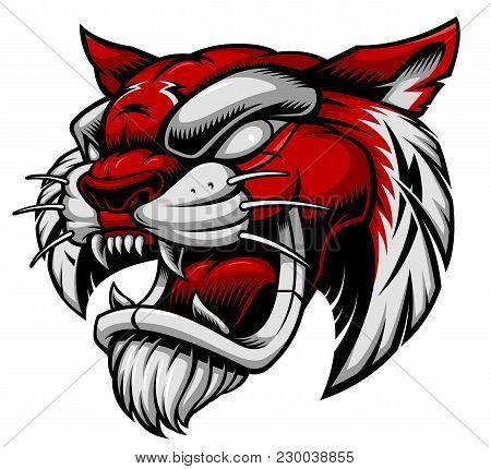 Vector Illustration Of Tiger Head. Design Of Sport Mascot On White Background.