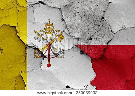 Flag Of Vatican And Poland Painted On Cracked Wall