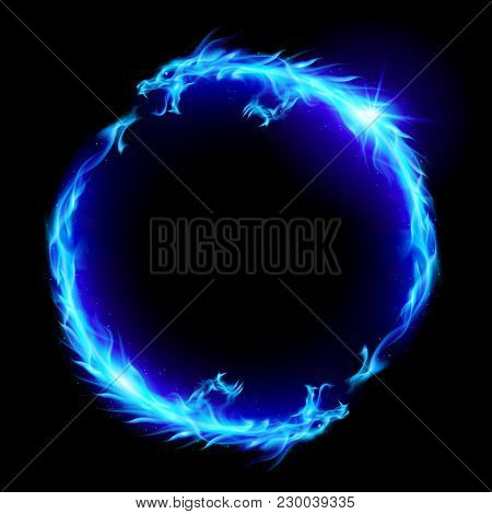 Ouroboros Concept Sign, Alchemical Magical Symbol Of Reincarnation And Kundalini. Ring Of Blue Fire