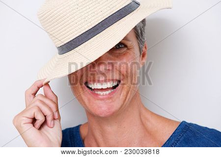 Close Up Happy Older Woman Laughing With Hat