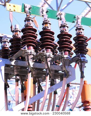 Large Ceramic Insulators Of A High-voltage Transformer In The Power Plant