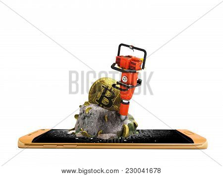Modern Concept Of Mining Bitcoin With A Bump From The Orange Phone In Front 3d Render On A White Bac